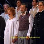 """Die """"Les Miserables""""-Hauptdarsteller: Nina Weiss (Fantine), Patricia Nessy (Fantine), Darius Merstein-Macleod (Jean Valejan) und Chris Murray (Javert)"""